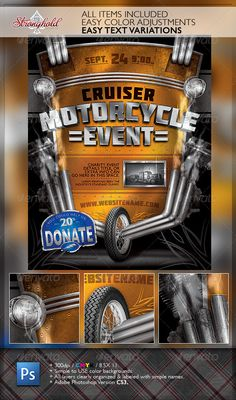 Vintage Motorcycle Event Flyer Template — Photoshop PSD #american #event • Available here → https://graphicriver.net/item/vintage-motorcycle-event-flyer-template/6299607?ref=pxcr