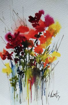 Watercolor flowers by Olivia Quintin Brittany. Watercolor Painting Techniques, Watercolor Projects, Watercolor Artists, Abstract Watercolor, Watercolor Paintings, Watercolours, Abstract Flowers, Watercolor Flowers, Abstract Flower Paintings