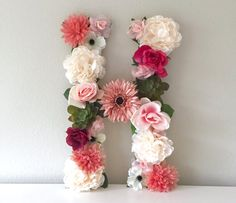"Large Floral Letter, Flower Letter, Nursery Decor, Bridal Shower, Wedding Letter, Flower Monogram, Custom Letter, Photo Prop, 19"" or 24"""