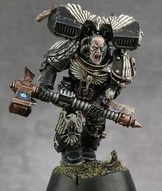 Awesome paint job on Black Templar Space Marine. Warhammer 40k Figures, Warhammer Models, Warhammer 40k Miniatures, Warhammer Fantasy, Warhammer 40000, Warhammer Paint, Space Marine, 40k Armies, What's New Today