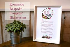 A perfect wedding present - beautiful personalised print, illustrated for each couple, including portrait, special flowers, a special date, and lots of lovely personal detail. Gorgeous!