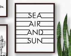 Printable Sea Air Sand Sun, Summer Art, Nautical Print, Modern Beach Word Art, Word Print, Black and White Print, Digital Download Print
