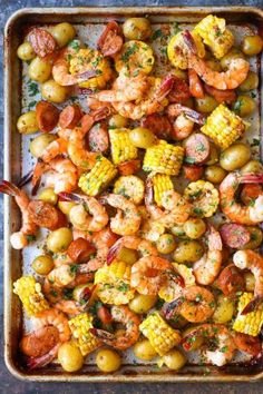 Sheet Pan Shrimp Boil - Easiest shrimp boil ever! And it& mess-free using a., recipes, Sheet Pan Shrimp Boil - Easiest shrimp boil ever! And it& mess-free using a single sheet pan. ONE PAN. No newspapers. No bags. Cooking Recipes, Healthy Recipes, Easy Shrimp Recipes, Shrimp Dinner Recipes, Grilled Shrimp Recipes, Meals With Shrimp, Tilapia Recipes, Tofu Recipes, Recipies