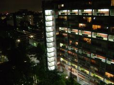 Multifamiliar Miguel Aleman at night, Mexico City,  Mario Pani