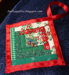 Beautiful handmade quilted Christmas ornament. Amity Quilter: Operation Homefront and the Quilters Christmas Party!