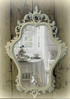 Gorgeous Hour Glass Mirror, Shaby Chic Mirror, Vintage White Mirror, Hollywood Regency. $225.00, via Etsy.