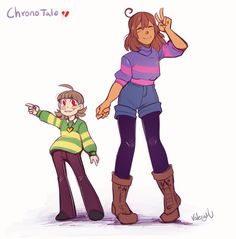Quick design doodle of Frisk and Chara. Support my Patreon~!More Chronotale stuff
