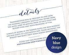 Details Card Template: Instantly download and print your own wedding invitation details cards.