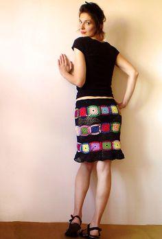 Granny Square inspiration ~Womens Skirt {Black with Multicolor Squares. via Etsy. Crochet Skirts, Crochet Clothes, Diy Clothes, Form Crochet, Cute Skirts, Crochet Fashion, Bohemian Style, Dress Skirt, Irish Crochet