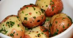 Butter stewed potatoes, are whole new potatoes or small, cut up red potatoes, steam cooked in butter and often sprinkled with herbs, such as parsley.