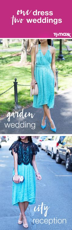 Fact: There's nothing worse than being photographed at different weddings in the same look. Reinvent your summer dresses with a few easy updates: For a relaxed outdoor ceremony, keep the outfit simple with pastel accessories. For an evening wedding in the city, a black lace overlay and metallic clutch add a formal touch.