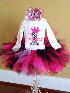 Zebra Princess Tutu Birthday Set by sugarandspicekids on Etsy, $42.00