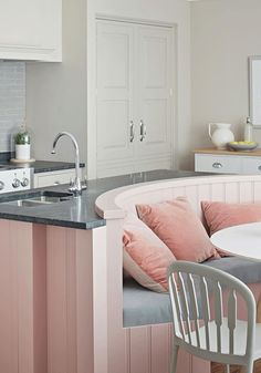 39 Best Kitchen Island Design With Built-in Seating Inspiration - Houzmag Kitchen Island Booth, Kitchen Island With Bench Seating, Booth Seating In Kitchen, Kitchen Booths, Kitchen Banquette, Kitchen Island With Seating, Kitchen Storage, Small Kitchen With Table, Round Kitchen Sink