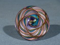 """James Alloway Dichroic Multi-color """"Weldons World"""" #93 Art-Glass Marble  1.5inch Diameter, marble is signed """"Alloway 93""""   eBay♥•♥•♥"""