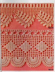 This Pin was discovered by Gök Filet Crochet, Crochet Lace Edging, Crochet Borders, Crochet Diagram, Love Crochet, Crochet Trim, Thread Crochet, Easy Crochet, Crochet Flowers