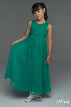A-Line V-Neck Empire Waist Pleated Long Chiffon Green Junior Bridesmaid Dresses