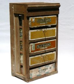 Make-do Chest Of Drawers Made From Cigar Boxes