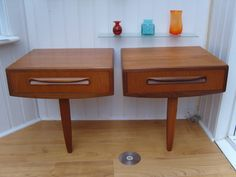 60's/70's G Plan Bedside Tables X2, Vintage Teak Wood Pair, Retro Bedroom Drawer