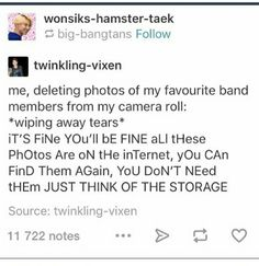 I literally delete everything BUT my BAND or GROUP photos