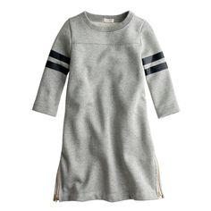 J.Crew girls' sparkle football sweatshirt dress in heather grey.