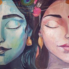 Radha Krsna by Natalia Koczetkowa Shiva Art, Krishna Art, Hindu Art, Radhe Krishna, Girly Drawings, Colorful Drawings, Art Drawings Sketches, Spiritual Paintings, Watercolor Paintings For Beginners