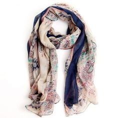 Floral Pashmina Scarf - Blue from The Trunk Show Boutique for $15.00