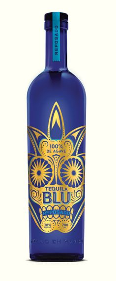 tequila blu - 100% agave - gorgeous design, so well done #bottlelove #bludonblue