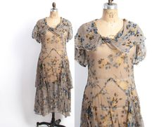 Vintage 30s DRESS / 1930s Taupe FLORAL Sheer Silk Crepe Capelet Collar & Ruffles,S