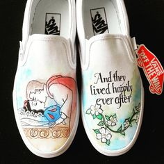 Disney shoes - Disney Snow White and Prince Charming Happily Ever After Custom Made Hand Painted Shoes – Disney shoes Disney Painted Shoes, Painted Vans, Disney Shoes, Hand Painted Shoes, Disney Outfits, Disney Vans, Painted Sneakers, Painted Clothes, Disney Fashion
