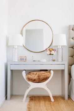 This vanity is actually an Ikea Hack - Kristen Kerr had her dad spray paint a plain white Ikea Malm dressing table a high gloss gray then paired it with a brass mirror from - from design sponge - Daily Home Decorations Home Bedroom, Bedroom Decor, Master Bedroom, Bedroom Small, Bedroom Table, Master Closet, Ikea Hack Bedroom, Bedroom Ideas, Apartment Bedrooms