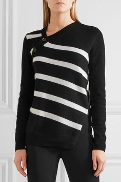 Black and white cashmere and cotton-blend Asymmetric button fastenings through side 66% cashmere, 34% cotton Dry clean Imported