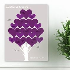 Uniquely Custom - Purple Hearts Personalized Couples Canvas, $70.00  #AnniversaryGifts #PersonalizedGifts #UniqueGifts #GiftsforCouples