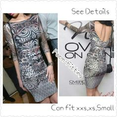 Backless Multi-Print Party Dress Like New  Solid Tribal, Aztec & Cheetah Print Dress Colors:Black,pink,grey,white & shades of Brown Can Fit Either Sizes XS,XXS,SMALL  *Backless *3/4 Mesh Sleeves *Form-Fitting *Above the Knees BodyCon Dresses Backless
