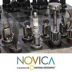 projects ideas metal chess pieces. Recycled Metal  Rustic Pyramid Auto Part Chess Set Hardware this but with the board made from