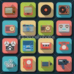 Retro electronic flat icons — Ilustração Stock #42219865