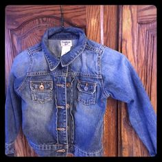 Girls Jean jacket Adorable girls Jean jacket. Great for layering w a sweatshirt or just casual w a dress.  Has had minimal wear - daughter grew out of too fast. No tears or stains. Looks fairly new. OshKosh Jackets & Coats Jean Jackets
