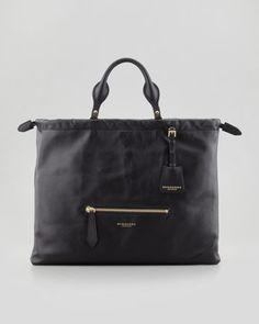 Burberry Drawstring Leather Satchel Bag, Black at Neiman Marcus. $1595