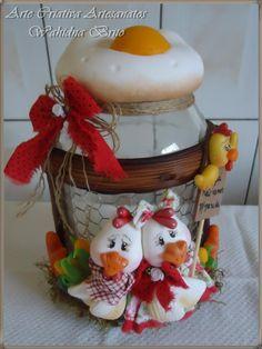 Galinhas... Pote decorativo porta ovos...