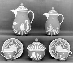 Jasperware Milk Jug with Cover, Teapot with cover, Sugar Bowl, Cups and Saucers- Josiah Wedgwood and Sons (decoration after a design by Laurence Sterne) 1785-1790