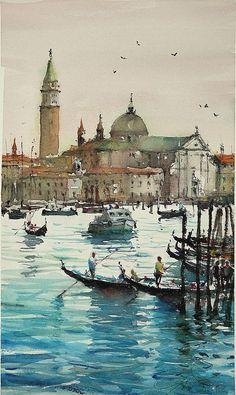 """maximilian damico; Watercolor 2013,  """"Venice from Giudecca"""""""