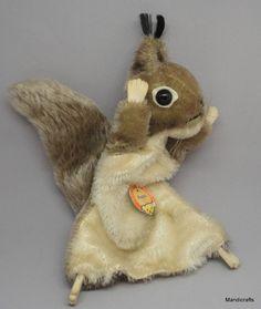 #Steiff Hopsi #Squirrel Hand #Puppet Mohair Plush ID Button Chest Tag 18 cm Vintage