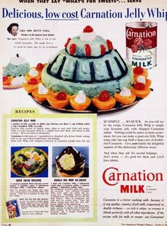 Carnation Jelly Whip.  This looks like something Queen Elizabeth could have worn to her coronation.  The color is troubling.  Food is not supposed to be blue.
