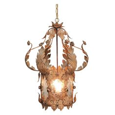 Tole Lantern Chandelier - 6 Romantic Wheel Etched Glass Panels - Vintage & Large from The Old Light Warehouse Exclusively on Ruby Lane