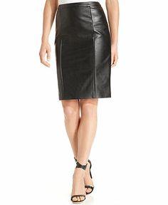 Calvin Klein Skirt, Faux-Leather Pencil - Suits & Suit Separates - Women - Macy's