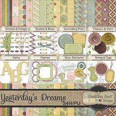 Digital Scrapbooking Yesterday's Dreams Kit By Dandelion Dust Designs #DandelionDustDesigns #DigitalScrapbooking