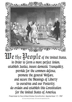 Preamble to the Constitution of the United States of America Us History, History Facts, American History, History Class, United States Constitution, Constitution Day, Bill Of Rights, Declaration Of Independence, God Bless America
