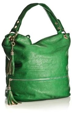 Gorgeous. Emerald green, soft-leather hobo handbag...