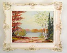 Jalava Autumn Landscape Painting / Vintage Framed Oil by gazaboo.etsy.com  #JalavaPainting #OilPainting #VintageArt #VintageAndMain