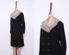1960s black fur collar coat / Vintage 60s mink evening by Ainshent, $149.00