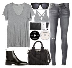 """""""230. Shades of Grey"""" by ass-sass-in ❤ liked on Polyvore featuring T By Alexander Wang, Alexander Wang, Citizens of Humanity, Yves Saint Laurent, Triwa, Jil Sander, MAC Cosmetics and KEEP ME"""